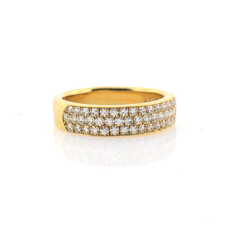 Suwa Diamond and Yellow Gold 3 Row Band