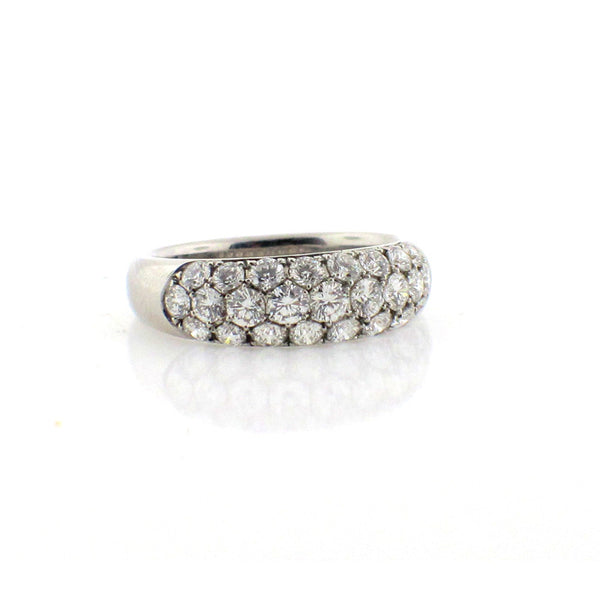 Suwa ring with pave diamonds clustered together in platinum