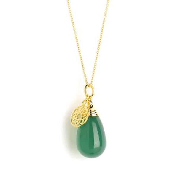 Syna Green Chalcedony and 18K Gold Mogul Pendant