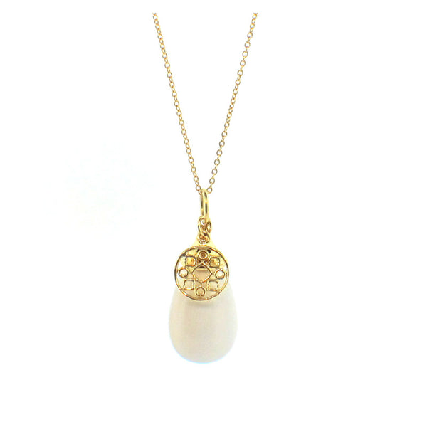 Syna Mammoth Ivory and 18K Gold Mogul Pendant