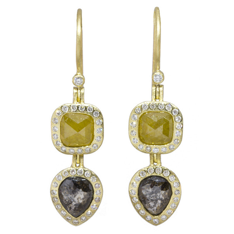 Todd Reed Fancy Diamond and 18K Yellow Gold Drop Earrings