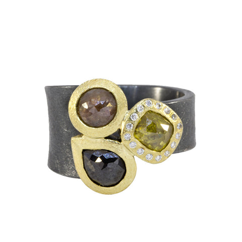 Todd Reed Three Stone Fancy Diamond 18K Yellow Gold and Sterling Silver Ring