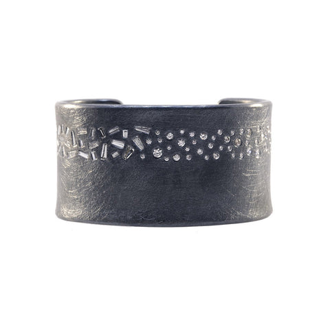 Todd Reed One Of A Kind Diamond and Oxidized Sterling Silver Cuff Bracelet
