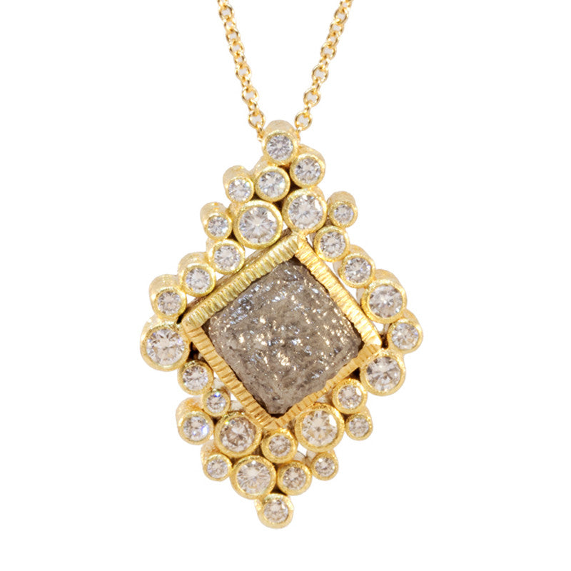 Todd Reed Custom Made Raw Cubed Diamond, Diamond and 18K Yellow Gold Pendant