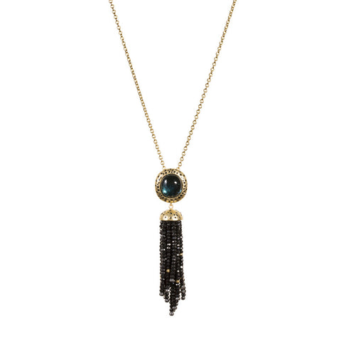Todd Reed Custom Green Tourmaline Black Diamond Onyx Bead and 18K Yellow Gold Tassel Pendant