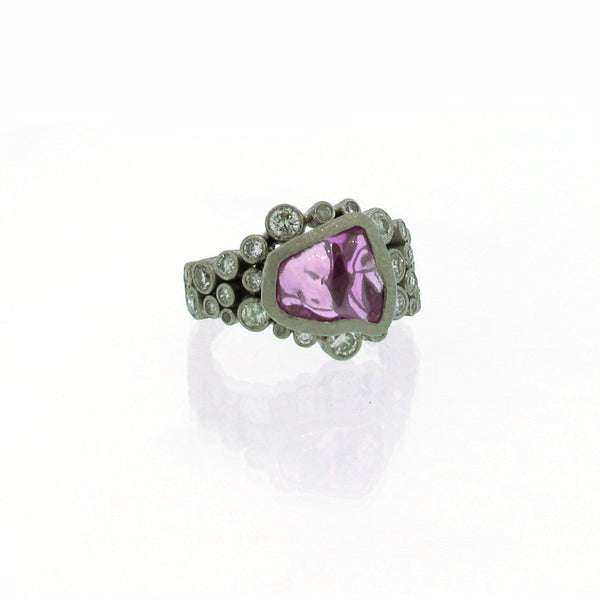 Todd Reed Custom Made Pink Sapphire Diamond and Palladium Ring