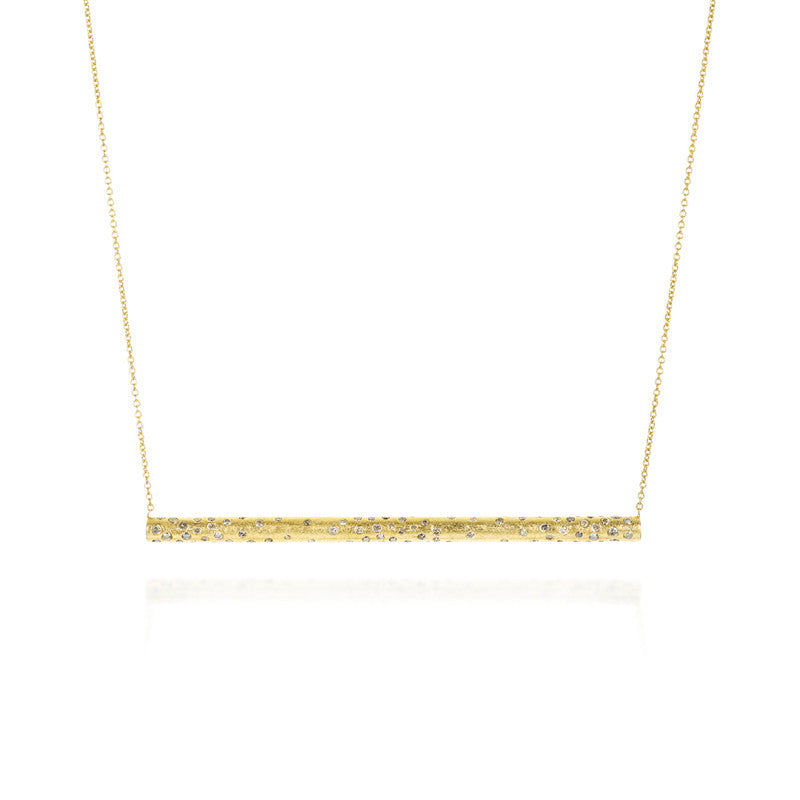 Todd Reed Diamond and 18K Yellow Gold Bar Pendant