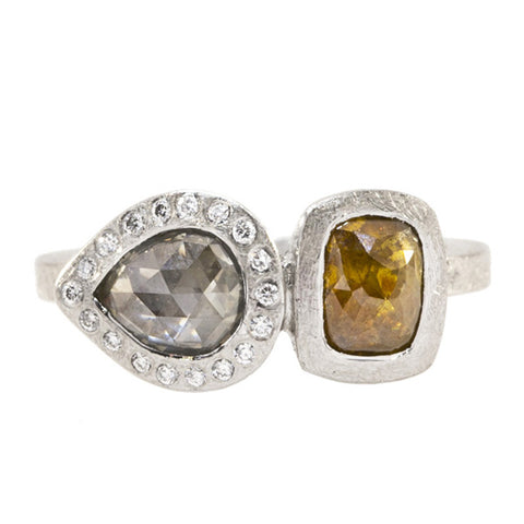 Todd Reed Dual Natural Colored Raw Diamond, and Palladium Engagement Ring