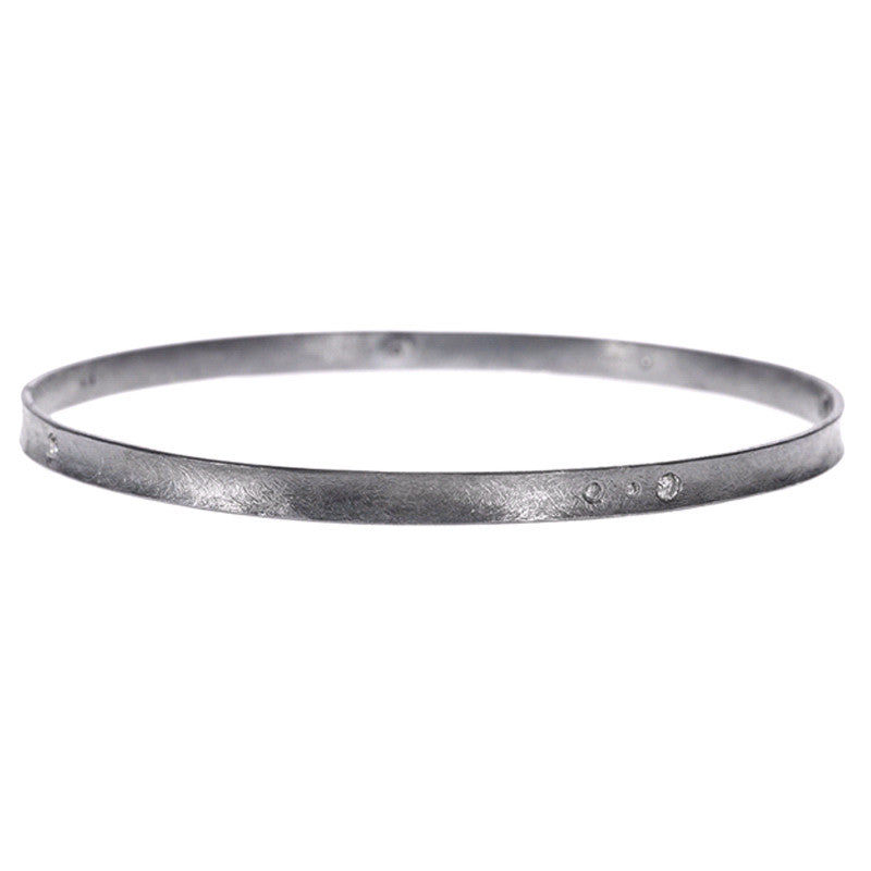 Todd Reed Diamond and Oxidized Sterling Bangle Bracelet