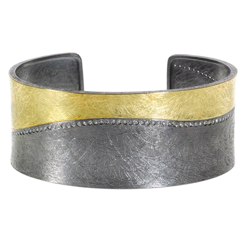 Todd Reed Diamond, 18K Gold and Oxidized Sterling Silver Cuff Bracelet