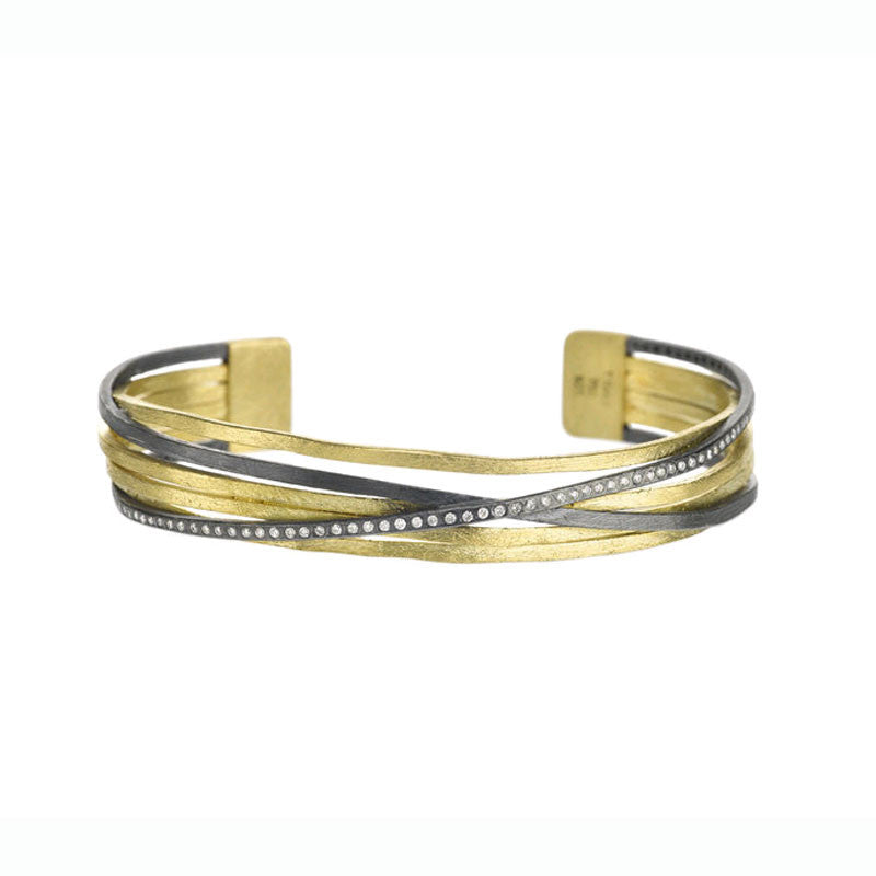 Todd Reed 18K Yellow Gold Sterling Silver and Diamond Cuff Bracelet