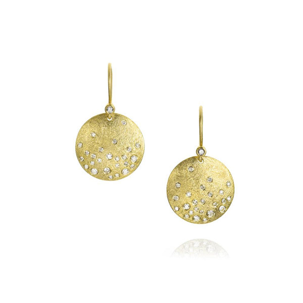 Todd Reed 18K Gold Diamond Disc Earrings
