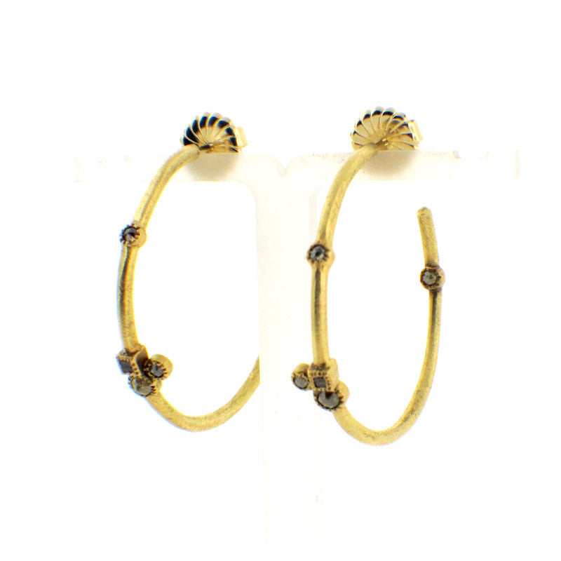 Todd Reed Raw Diamond and 18K Yellow Gold Hoop Earrings