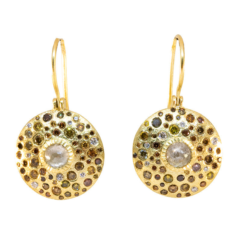 Todd Reed Fancy Diamond and 18K Yellow Gold Round Drop Earrings