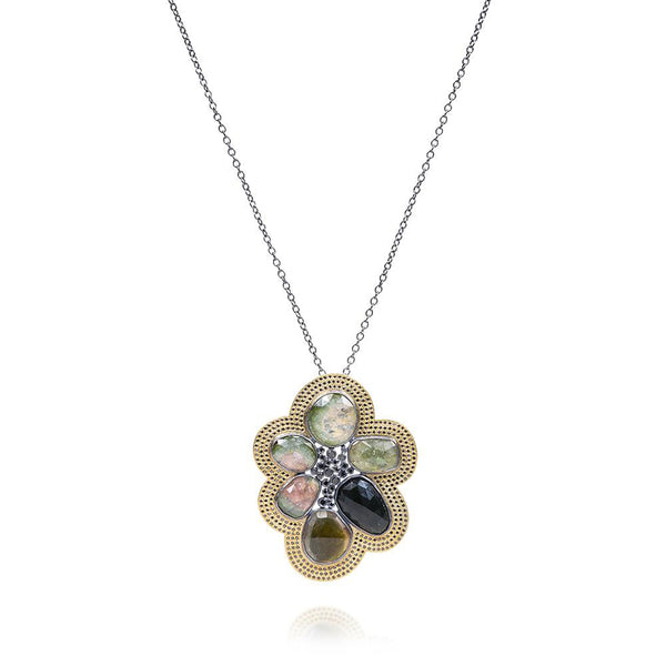 Todd Reed Tourmaline and Diamond Pendant Necklace