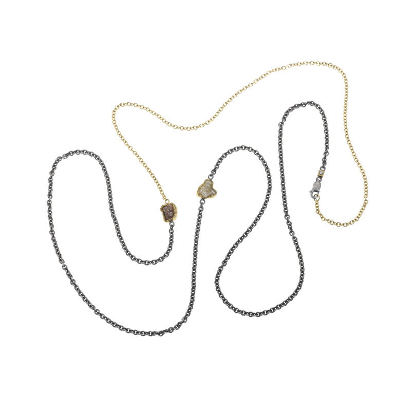 Todd Reed Raw Diamond 18K Yellow Gold and Oxidized Sterling Silver Necklace