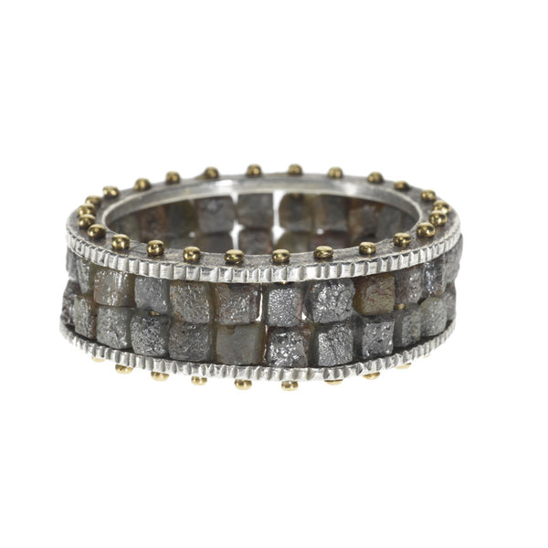 Todd Reed diamond ring with two rows of raw diamonds set in sterling silver and 18k gold band