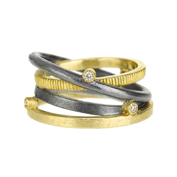 Todd Reed 18K Yellow Gold Oxidized Sterling Silver and Diamond Multiband Ring