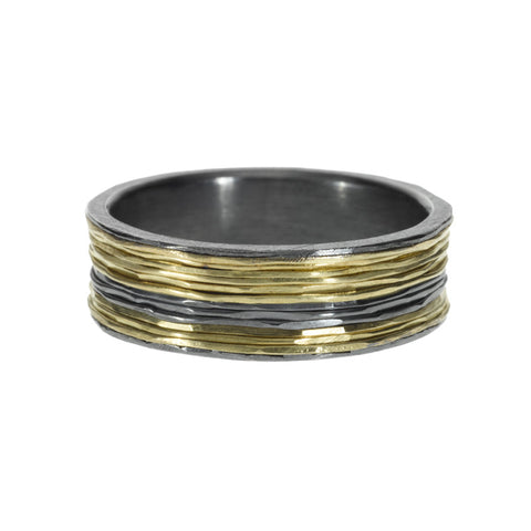 Todd Reed Men's Lined Sterling Silver and 18K Gold Band