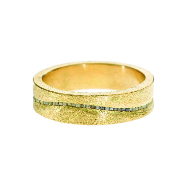 Todd Reed Wavy Raw Cubed Diamond and 18K Yellow Gold Band