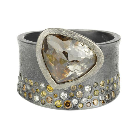 Todd Reed Fancy Cut Natural Color Diamond and Autumn Diamond Ring