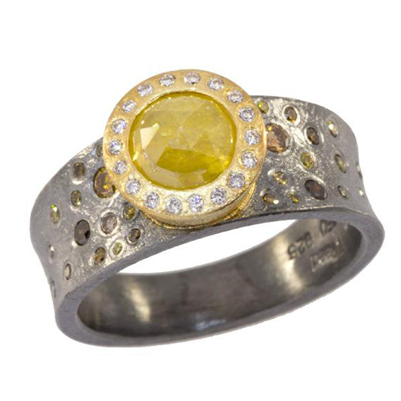 Todd Reed Fancy Colored Diamond 18K Yellow Gold and Sterling Silver Ring