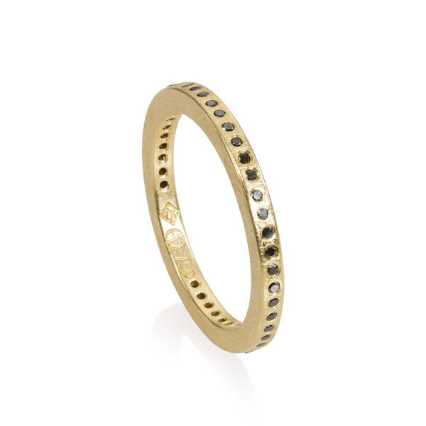 18K yellow gold flush set diamond eternity band