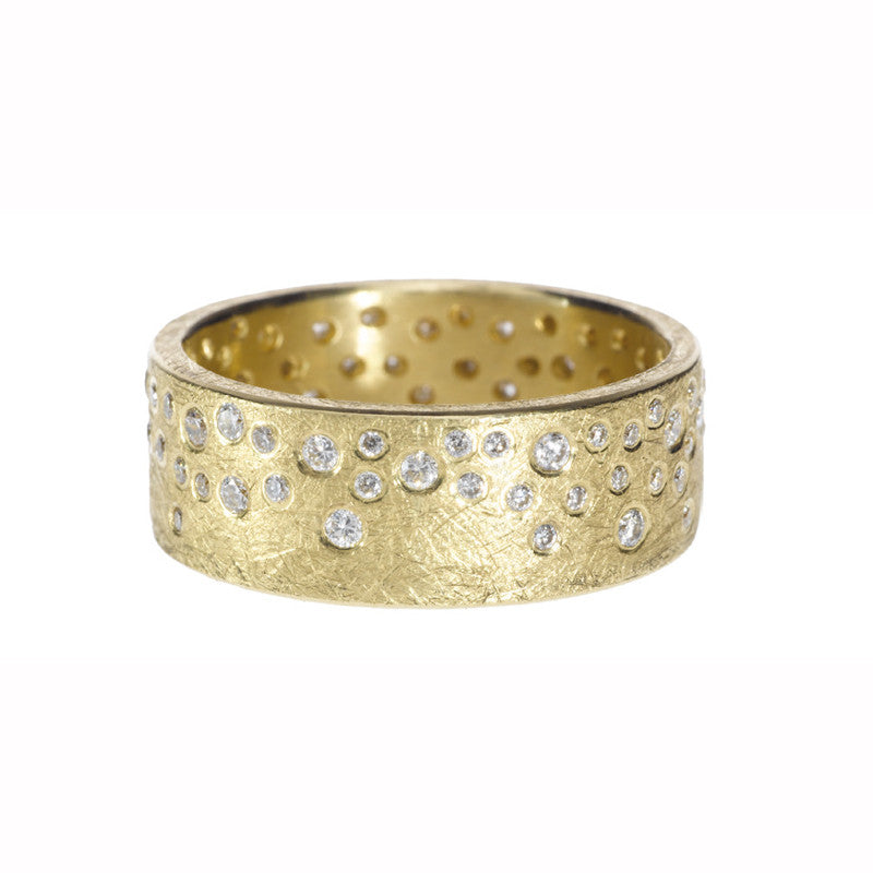 Todd Reed Scattered Diamond and 18K Yellow Gold Wide Band