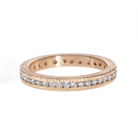 Todd Reed 18K Rose Gold Coin Edge Diamond Eternity Band