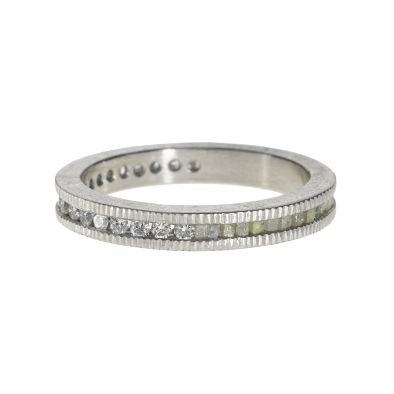 Todd Reed Diamond and Raw Diamond Cube Eternity Ring