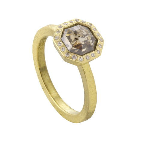 Todd Reed Octagon Shaped Diamond and 18K Yellow Gold Ring
