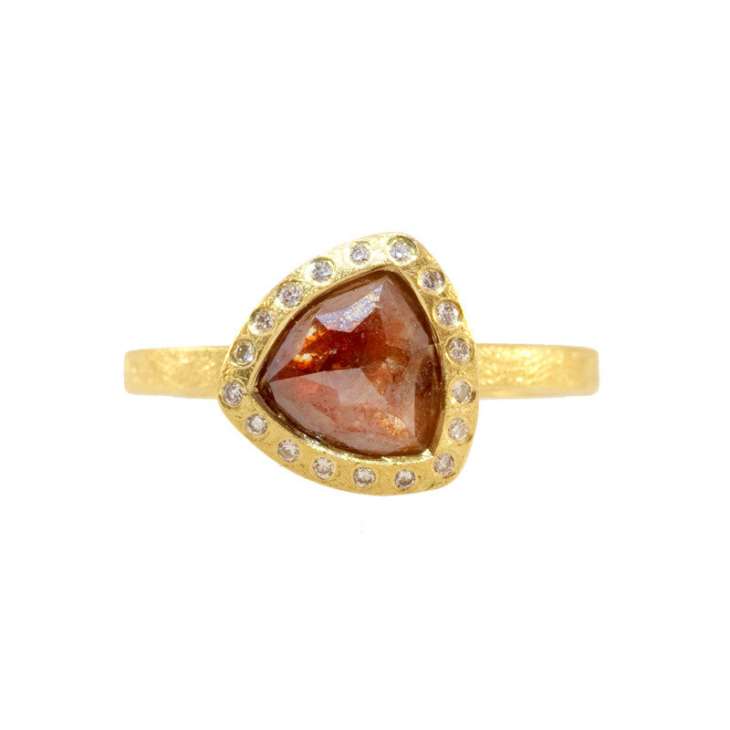 Todd Reed Red Colored Raw Diamond, and 18K Yellow Gold Engagement Ring