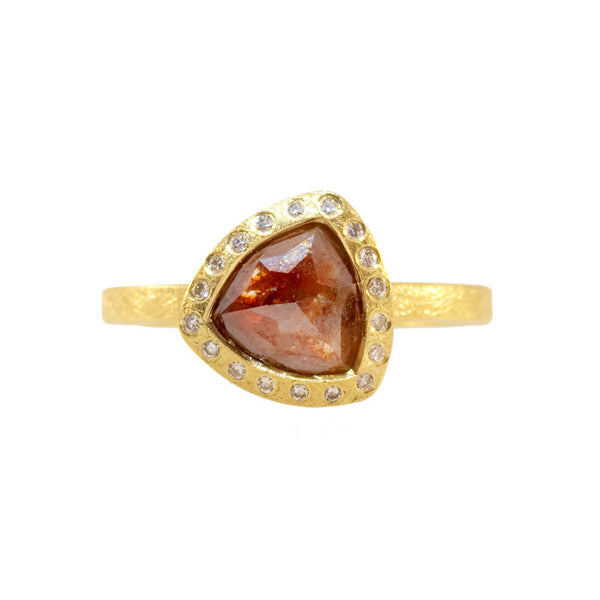Todd Reed diamond ring with 1.63 carat reddish brown diamond and brilliant round diamonds in 18k bezel