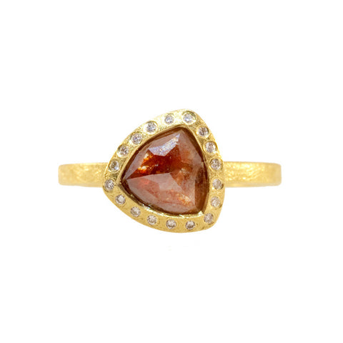 Todd Reed Red Colored Diamond and 18K Yellow Gold Engagement Ring