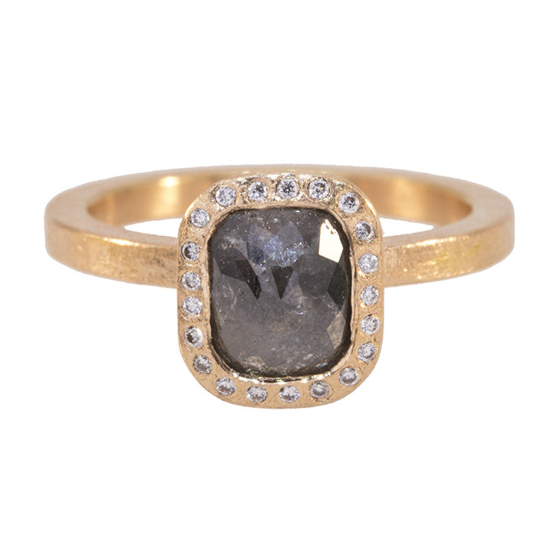 Todd Reed Gray Raw Diamond, and 18K Rose Gold Engagement Ring