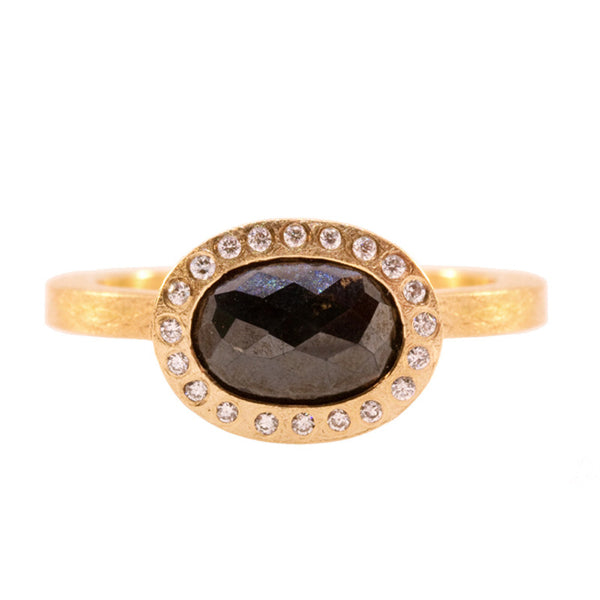 Todd Reed Black Diamond, Brilliant Diamond and 18K Rose Gold Engagement Ring