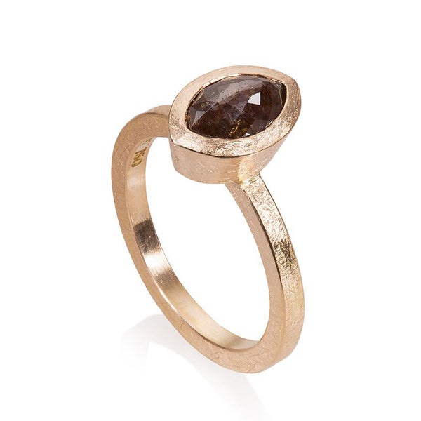 18K rose gold ring with bezel set fancy cut marquise shape reddish-brown diamond