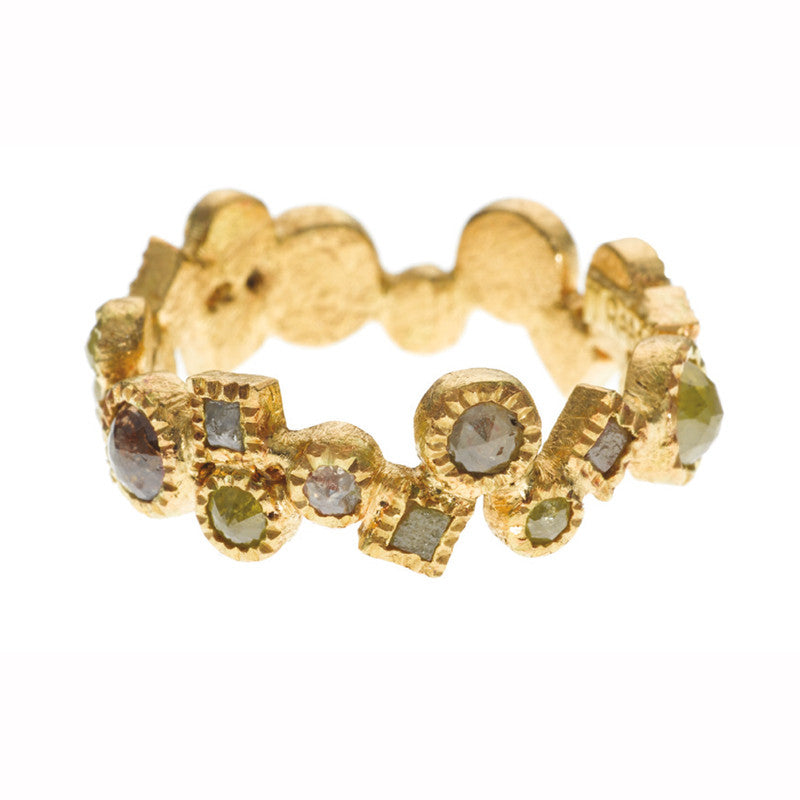 Todd Reed Rose Cut and Raw Cubed Diamond and 18K Yellow Gold Eternity Band