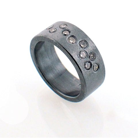 Todd Reed Diamond and Oxidized Sterling Silver Band