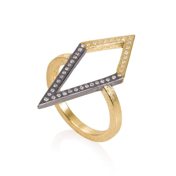 Todd Reed Mixed Metal Geometric Diamond Ring