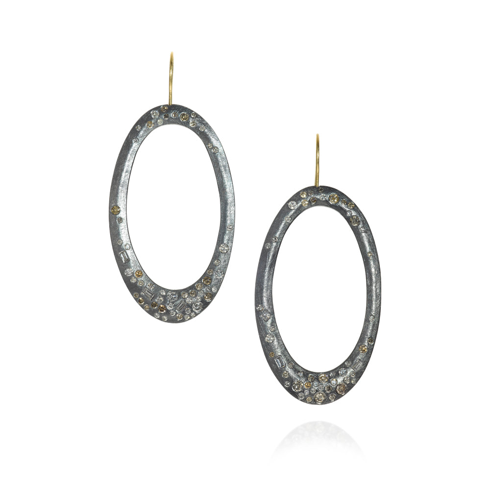 Todd Reed Diamond Oxidized Sterling Silver Drop Earrings with 18 Karat Gold Hook