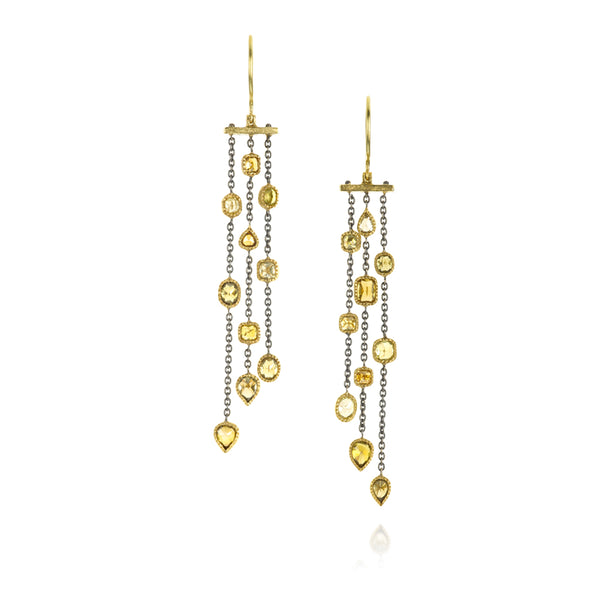 Todd Reed Multi-color Diamond and 18K Yellow Gold Drop Earrings