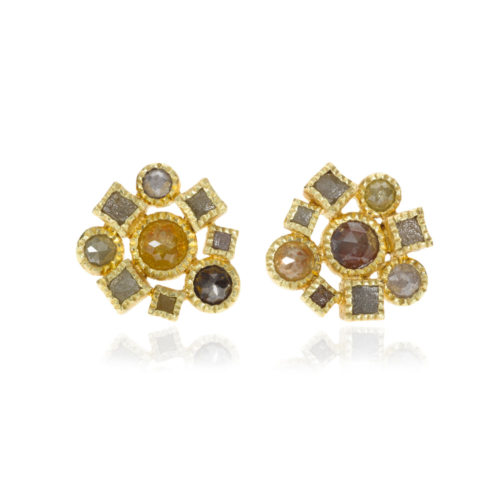 Todd Reed Rustic Diamond and 18K Yellow Gold Cluster Earrings