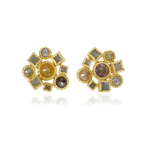 Todd Reed earrings with rose cut diamonds and raw diamonds set in 18k gold for pierced ears