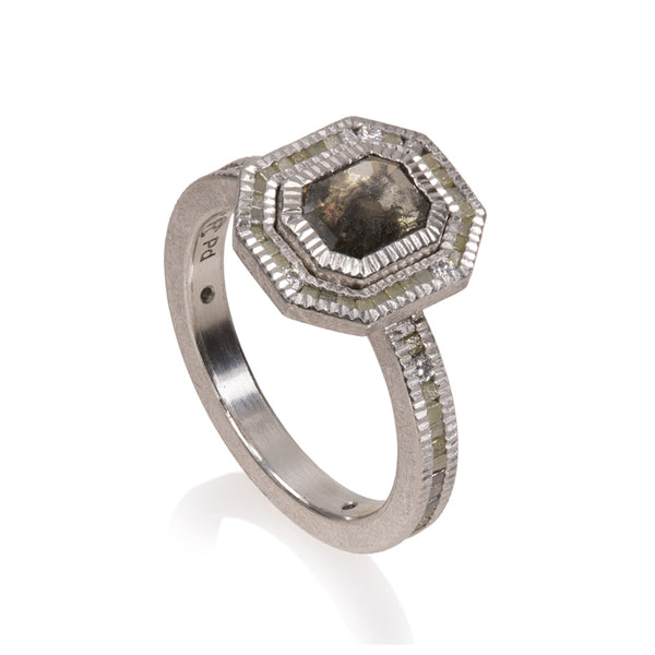 Todd Reed Fancy Cut Gray Diamond and Palladium Ring