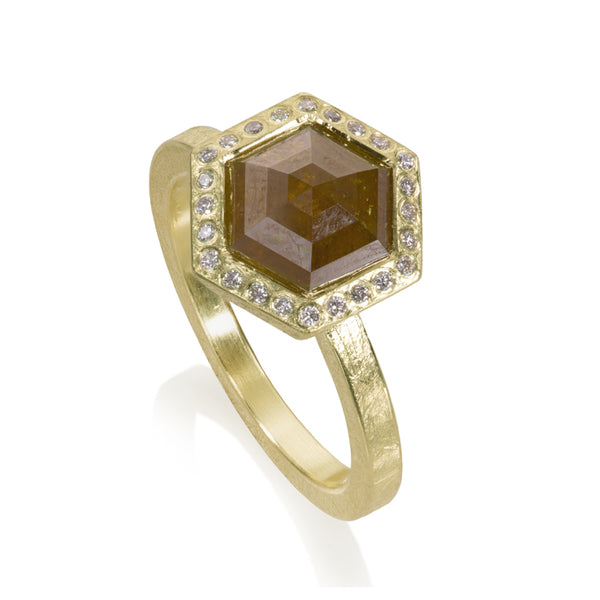 Todd Reed diamond ring with fancy cut orange hexagon diamond with diamond halo set in 18k gold