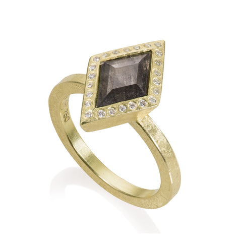 Todd Reed Lozenge Shaped Diamond and 18K Yellow Gold Ring
