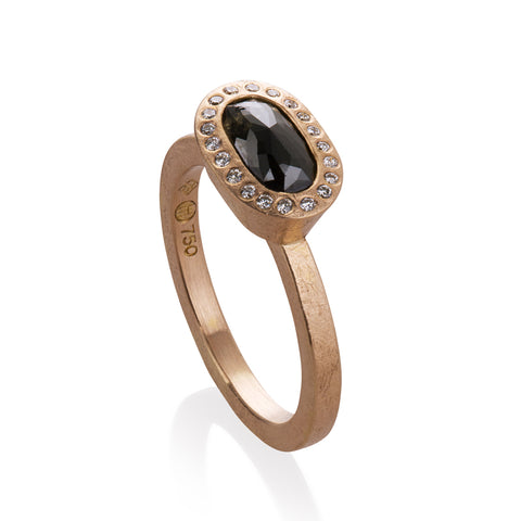 Todd Reed Oval Shaped Black Diamond and 18K Rose Gold Ring