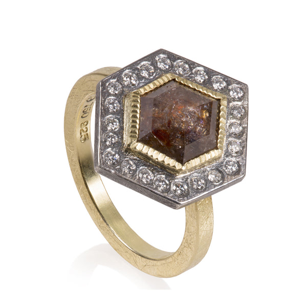 Todd Reed diamond ring with reddish brown hexagon diamond with sterling silver diamond halo and 18k gold band