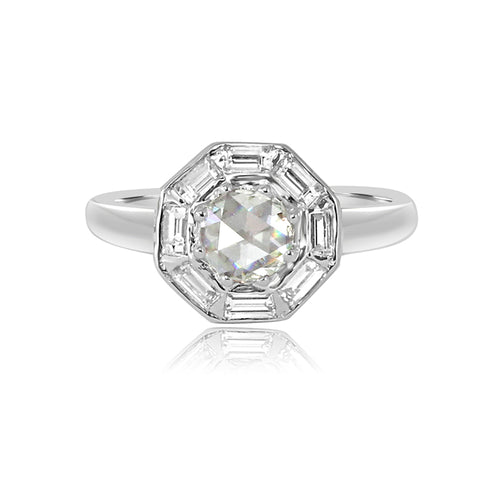 Vivaan 18K White Gold and Diamond Octagon Ring